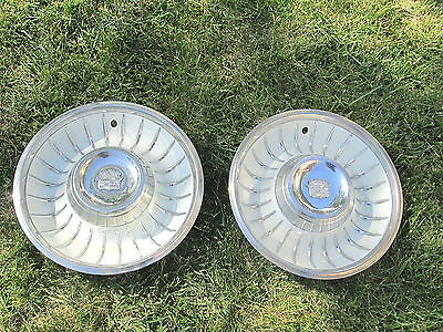 Vintage 1960's Cadillac Hubcap Hub Cap Wheel Covers Set/ 2 Very Good Condition