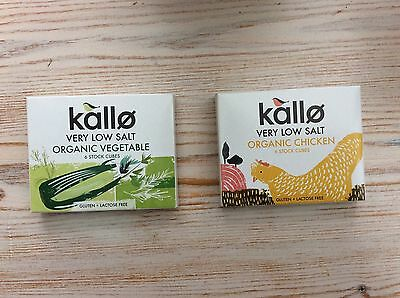 Kallo Very Low Salt Organic Chicken or Vegetable or Beef Stock Cubes x 6 66g Box