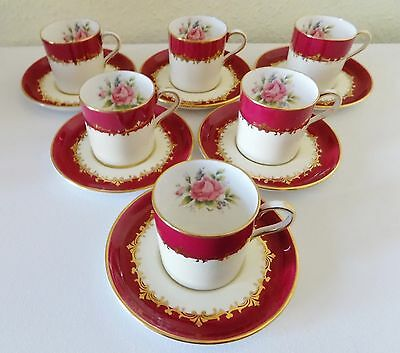 6 Aynsley Rose Coffee Cups  & Saucers Pattern 7610 Circa 1930