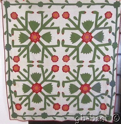 Geometrical c 1880s Whig Rose Applique Antique Quilt TOP Coverlet RED Green