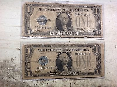 2-1928 $1 Silver Certificates- Funnybacks.  Free shipping, lower grades