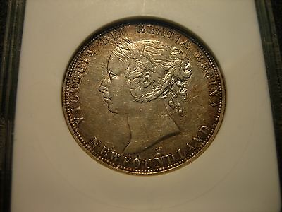 CANADA   50 cents  1876 H NEWFOUNDLAND AU DETAILS BY ANACS