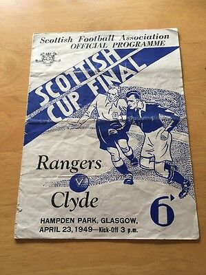 SCOTTISH CUP FINAL GLASGOW RANGERS v CLYDE Football Programme 23rd April 1949