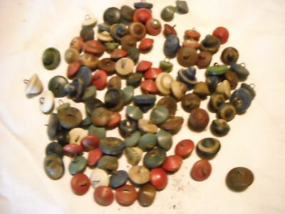 Lot of 109 vintage wood buttons