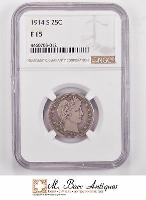 F15 1914-S Barber Silver Quarter - Graded NGC *814