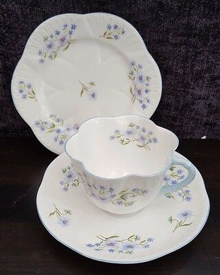 Shelley Dainty Blue Rock English Bone China Trio 13591 Excellent