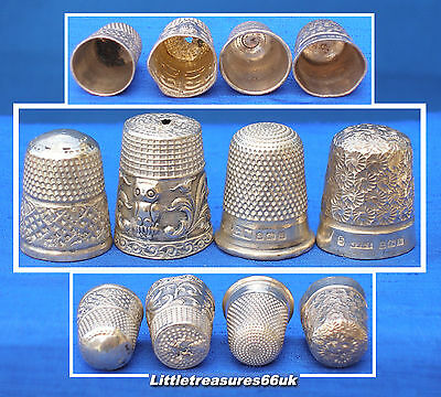 4 X Damaged Solid Silver Thimbles......