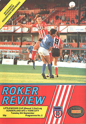 1988/89 Sunderland v York City, League Cup, PERFECT CONDITION