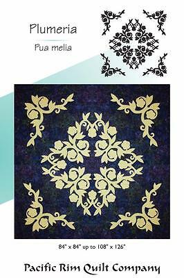 Hawaiian Plumeria Flower Floral Pacific Rim Applique Double Full Quilt Pattern