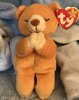 Ty Beanie Baby HOPE Praying Bear Has Tag Errors