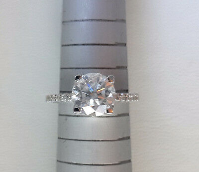 2.38 Ct Round Cut D/si1 Diamond Solitaire Engagement Ring 14K White Gold