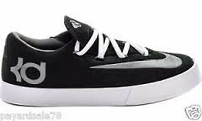 Nike KD 642085-001 YOUTH VULC Sneakers 5 Sports Shoe BLACK GRAY Leather Suede