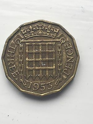 1953 Three Pence 3p coin Queen Elizabeth II.