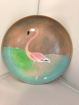 Vintage Enamel over Copper Small Plate Pin Tray Pink Flamingo