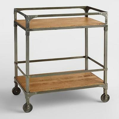 Rustic Industrial Bar Cart Serving Trolley Wood Metal Rolling Storage Tray Wine