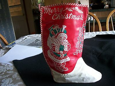 """Vintage Santa Oilcloth Christmas Boot/Stocking 10 3/4"""" tall Has a Shoe Sole 7"""" l"""