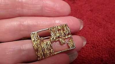 Vintage Seventies Modernist Style Gold Coloured Brooch Pin