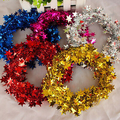 5M Christmas Red Gold Silver Star Foil Festive Wire Garland Decoration