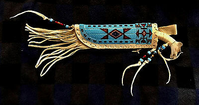 Native American Indian Authentic Lakota Beaded Sheath by Kevin D. Fast Horse