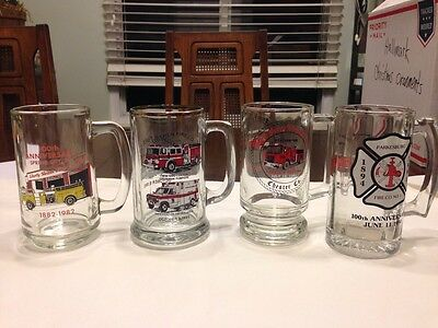 4 -Fire Co 12Oz Glass Mugs Goshen Parkersburg Spring City Vally Forge Chester Co