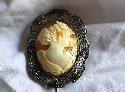 Vintage antique shell cameo sterling silver filligree frame