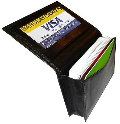BLACK GENUINE LEATHER Window ID Credit Cards Thin Wallet expandable pocket Mens