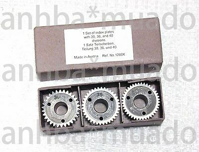 Set of 3 Index plates #30, 36, 40 For Use On Unimat DB SL Mini Lathe, Ref #1260K