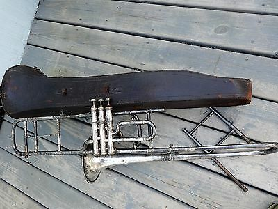 RARE, Early, FRANCE,  3 valve Rudolph Wurlitzer Co. PERFECTION Trombone