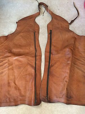 Vintage leather weston style batwing chaps with zips