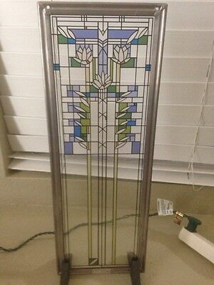Vintage Stained Glass Frank LLoyd Wright Window Hanging Pale Lavender Clear