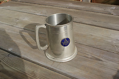 English Sheffield Pewter Tankard Freemasonry Masonic Plaque