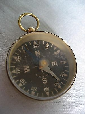 Antique Brass Pocket Compass-Watch Fob-style~ Vintage Made in W. Germany