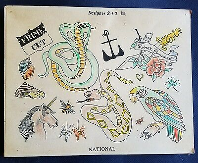national benedetti production snake dagger tattoo flash sheet, hand colored
