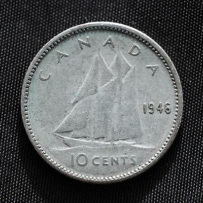 1946 Canada Dime. 10 Cent Canadian Coin. Silver Dime. Circulated.