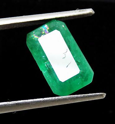 3.25 Ct Certified Natural Green Emerald Cut Loose Gemstone Stone