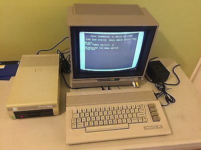 Commodore 64 Vintage Computer Original Monitor Floppy Drive Disks Software
