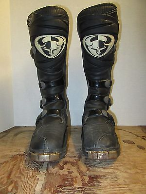 Thor Racing T-30 Motorcycle Riding Boots Mens Size 10 Black Motocross Dirt Bike
