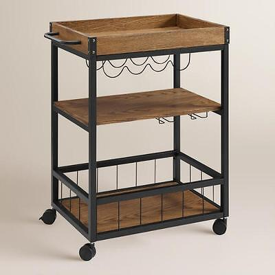 Kitchen Island Bar Cart Serving Trolley Wood Metal Vintage Industrial Wine NEW