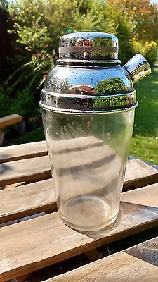 Stylish Vintage cocktail shaker unknown age heavy glass EPNS Made in England