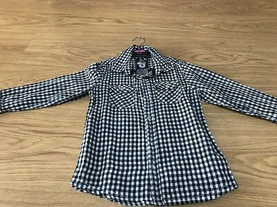 Boys Lovely Check Smart Casual Shirt 4-5 Years Black White Party