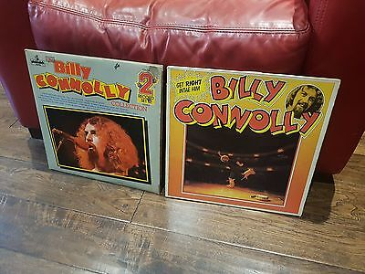 99p AUCTION NICE COMEDY JOB LOT 2 x BILLY CONNOLLY VINYL LPs GET RIGHT INTAE HIM