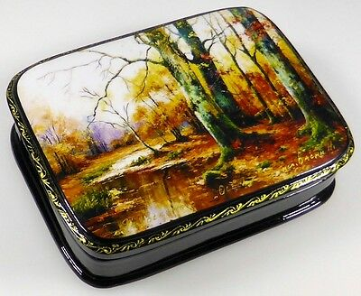 Herbst - Осень Russische Lackmalerei Lackdose Russian lacquer box Fedoskino