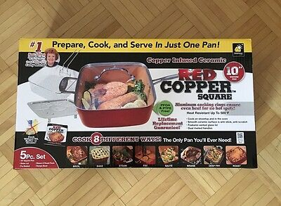 Infused Ceramic RED COPPER CHEF Square 5 Piece Set Cookware **FREE SHIPPING**
