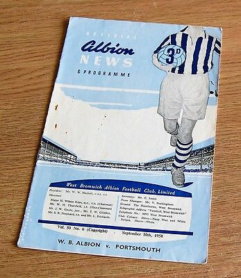 West Bromwich Albion v Portsmouth 1958/59 Football Programme
