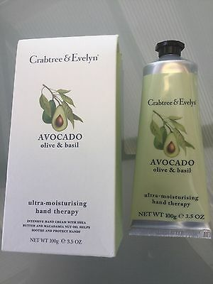 Crabtree & Evelyn Avocado Olive & Basil Hand Therapy 100g New/ Boxed