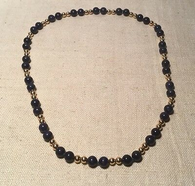 Tiffany & Co. Vintage Authentic 14k Yellow Gold & Blue Lapis Beaded Necklace