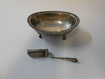 Vintage Antique Small Silver Bowl Footed Italian Hallmark 800 Serving Spoon