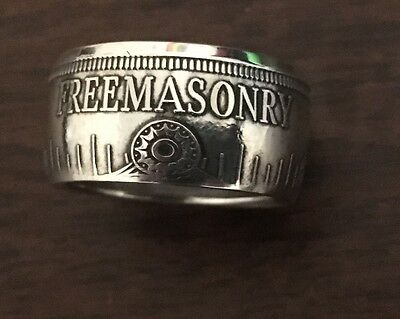 Handcrafted One Ounce .999 Silver Masonic Freemason  Coin Ring