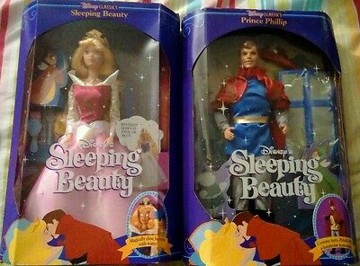 Disney Classsics 1991 Prince Charming & Sleeping Beauty Mattel Dolls