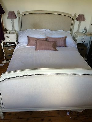 French Louis Style Shabby Chic Upholstered Double Bed